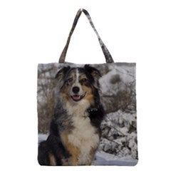 Australian Shepherd In Snow 2 Grocery Tote Bags