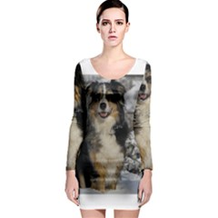 Australian Shepherd In Snow 2 Long Sleeve Bodycon Dresses