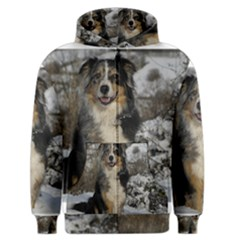 Australian Shepherd In Snow 2 Men s Zipper Hoodies