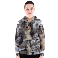 Australian Shepherd In Snow 2 Women s Zipper Hoodies