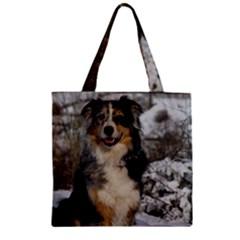 Australian Shepherd In Snow 2 Zipper Grocery Tote Bags