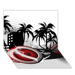 music, speaker Heart Bottom 3D Greeting Card (7x5)