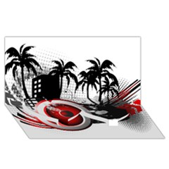 music, speaker Twin Heart Bottom 3D Greeting Card (8x4)