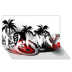 music, speaker PARTY 3D Greeting Card (8x4)