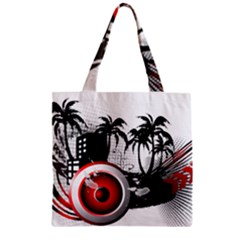 music, speaker Zipper Grocery Tote Bags