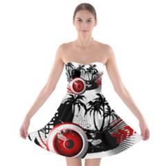 music, speaker Strapless Bra Top Dress