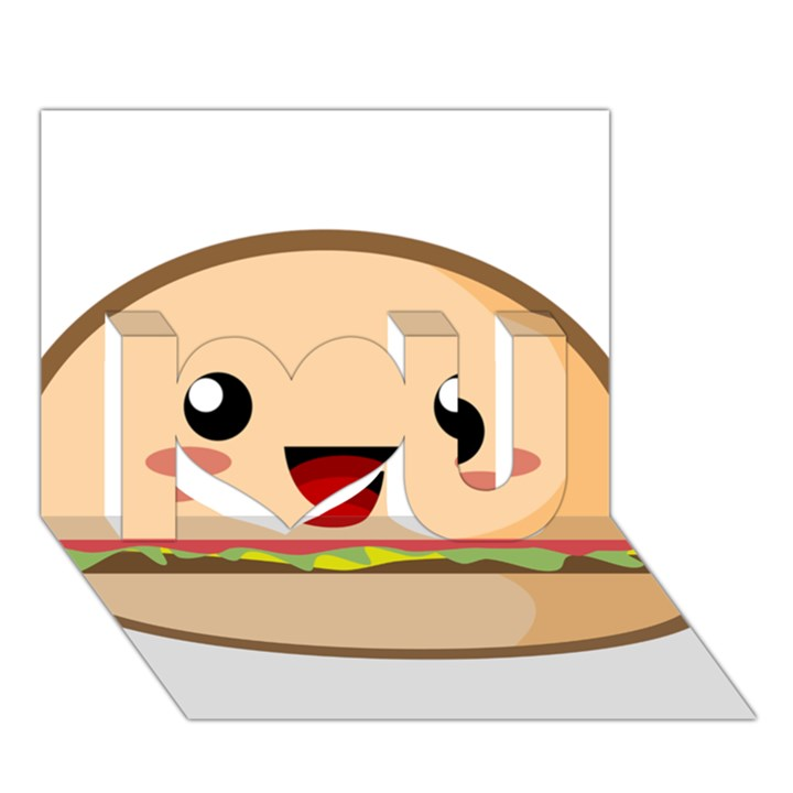Kawaii Burger I Love You 3D Greeting Card (7x5)