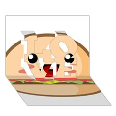 Kawaii Burger LOVE 3D Greeting Card (7x5)