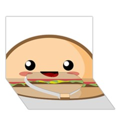 Kawaii Burger Heart Bottom 3d Greeting Card (7x5)