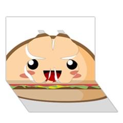 Kawaii Burger Clover 3D Greeting Card (7x5)
