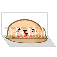 Kawaii Burger BEST BRO 3D Greeting Card (8x4)