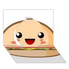 Kawaii Burger Circle 3D Greeting Card (7x5)