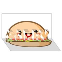 Kawaii Burger Sorry 3d Greeting Card (8x4)