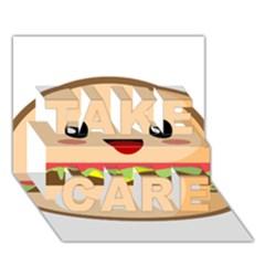 Kawaii Burger Take Care 3d Greeting Card (7x5)