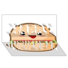 Kawaii Burger Happy New Year 3d Greeting Card (8x4)