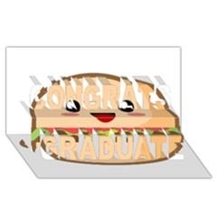 Kawaii Burger Congrats Graduate 3D Greeting Card (8x4)