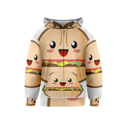 Kawaii Burger Kids Zipper Hoodies