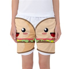Kawaii Burger Women s Basketball Shorts