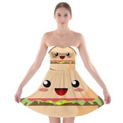 Kawaii Burger Strapless Bra Top Dress
