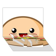 Kawaii Burger LOVE Bottom 3D Greeting Card (7x5)