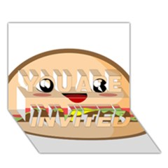 Kawaii Burger YOU ARE INVITED 3D Greeting Card (7x5)