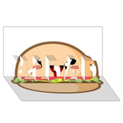 Kawaii Burger #1 DAD 3D Greeting Card (8x4)