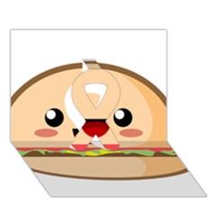 Kawaii Burger Ribbon 3D Greeting Card (7x5)
