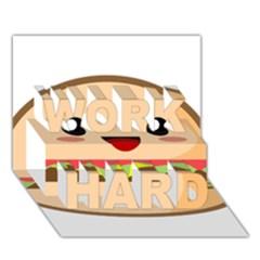 Kawaii Burger Work Hard 3d Greeting Card (7x5)