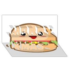 Kawaii Burger Merry Xmas 3D Greeting Card (8x4)