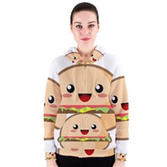 Kawaii Burger Women s Zipper Hoodies