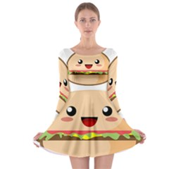 Kawaii Burger Long Sleeve Skater Dress
