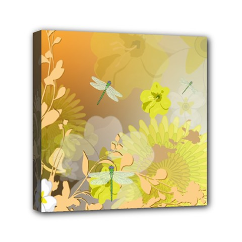 Beautiful Yellow Flowers With Dragonflies Mini Canvas 6  x 6