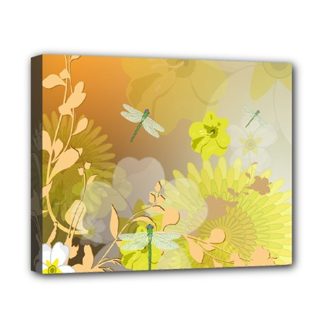 Beautiful Yellow Flowers With Dragonflies Canvas 10  x 8