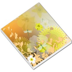 Beautiful Yellow Flowers With Dragonflies Small Memo Pads