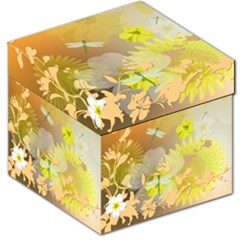 Beautiful Yellow Flowers With Dragonflies Storage Stool 12