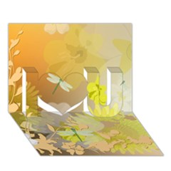 Beautiful Yellow Flowers With Dragonflies I Love You 3D Greeting Card (7x5)