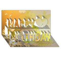 Beautiful Yellow Flowers With Dragonflies Happy Birthday 3d Greeting Card (8x4)