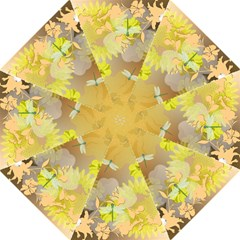 Beautiful Yellow Flowers With Dragonflies Golf Umbrellas