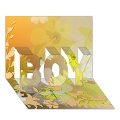 Beautiful Yellow Flowers With Dragonflies BOY 3D Greeting Card (7x5)
