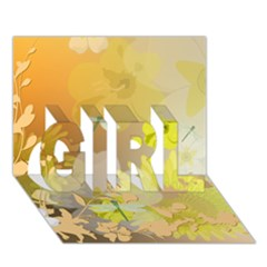 Beautiful Yellow Flowers With Dragonflies Girl 3d Greeting Card (7x5)