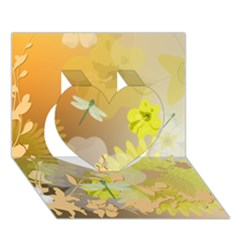 Beautiful Yellow Flowers With Dragonflies Heart 3D Greeting Card (7x5)