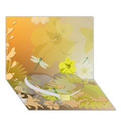 Beautiful Yellow Flowers With Dragonflies Heart Bottom 3d Greeting Card (7x5)