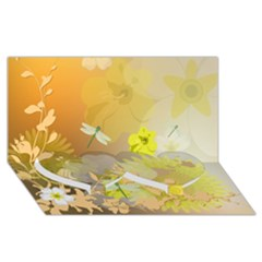 Beautiful Yellow Flowers With Dragonflies Twin Heart Bottom 3D Greeting Card (8x4)