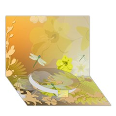 Beautiful Yellow Flowers With Dragonflies Circle Bottom 3d Greeting Card (7x5)