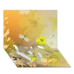 Beautiful Yellow Flowers With Dragonflies LOVE Bottom 3D Greeting Card (7x5)