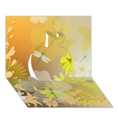 Beautiful Yellow Flowers With Dragonflies Apple 3d Greeting Card (7x5)