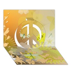 Beautiful Yellow Flowers With Dragonflies Peace Sign 3D Greeting Card (7x5)