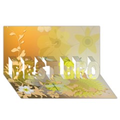 Beautiful Yellow Flowers With Dragonflies BEST BRO 3D Greeting Card (8x4)