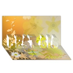 Beautiful Yellow Flowers With Dragonflies Best Sis 3d Greeting Card (8x4)