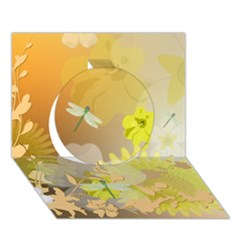 Beautiful Yellow Flowers With Dragonflies Circle 3D Greeting Card (7x5)